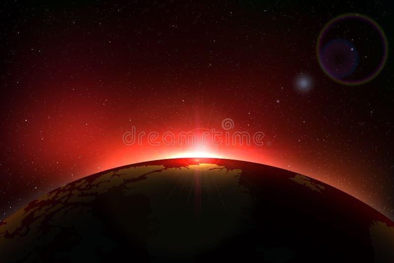 行星地球日出 向量例证