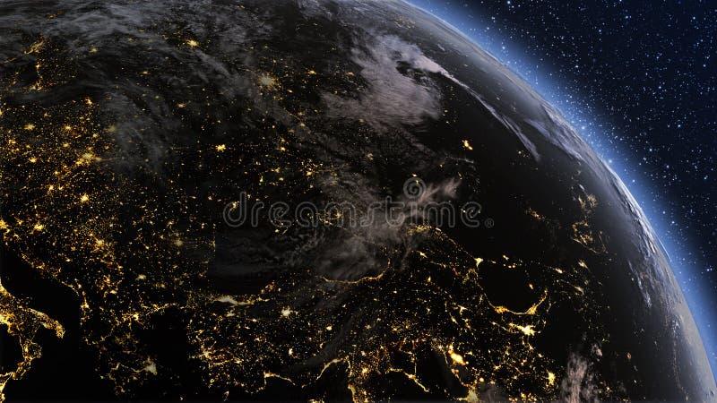 行星地球有夜间和日出的欧洲区域 免版税库存图片