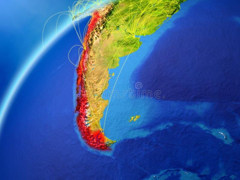 行星地球模型的智利与国际网络的 数字通信和技术的概念 3d例证 皇族释放例证
