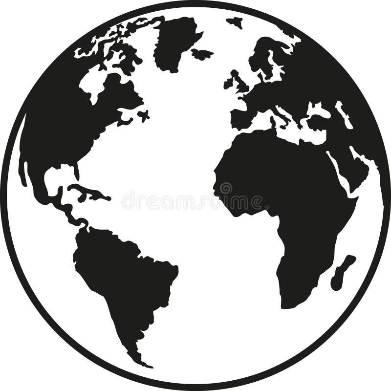 行星地球欧洲非洲北部和南美洲 向量例证