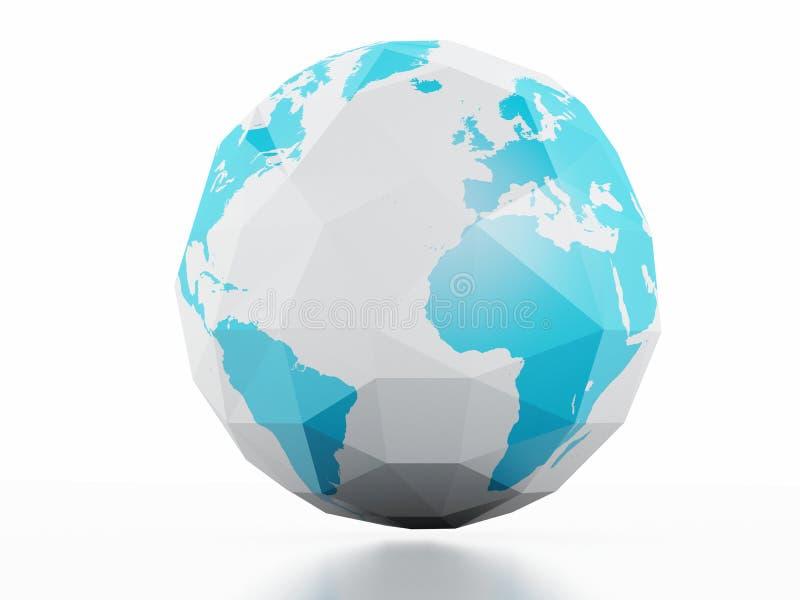行星地球白色背景 低多3d图象 库存例证