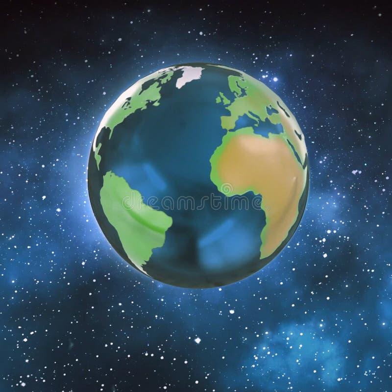 行星地球的例证在空间的 地球的地球 库存例证
