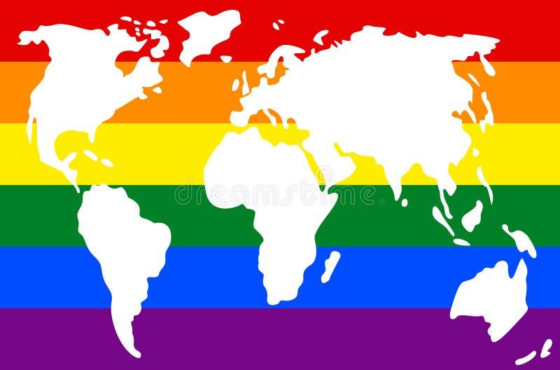 行星地球的大陆在旗子的颜色的  皇族释放例证