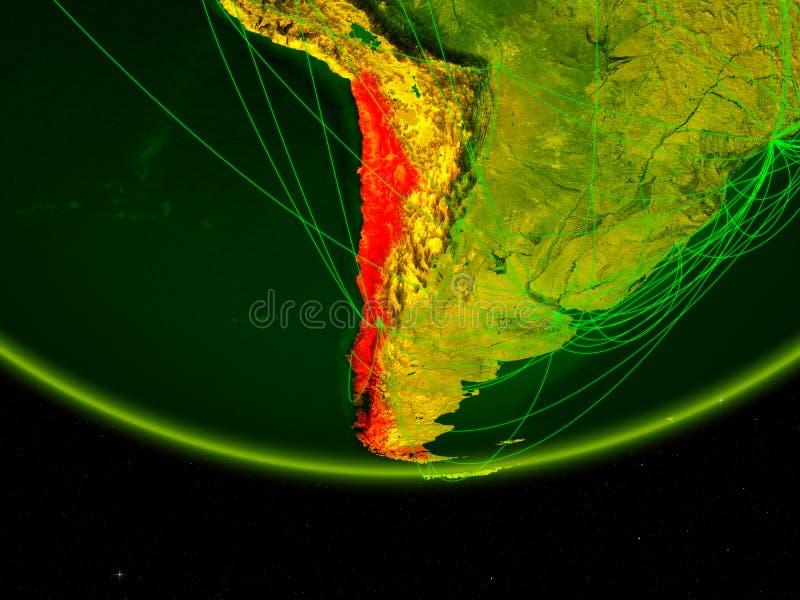 行星地球绿色模型的智利与代表数字时代、旅行和通信的网络的 3d例证 元素  库存例证