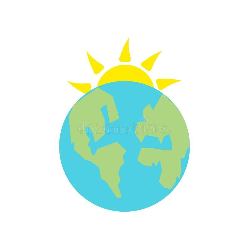 行星地球象在白色背景和标志隔绝的传染媒介标志,行星地球商标概念 皇族释放例证