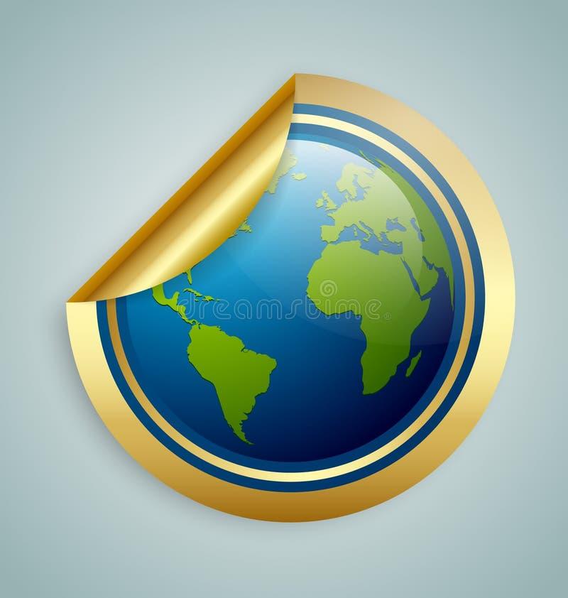 行星地球贴纸 皇族释放例证