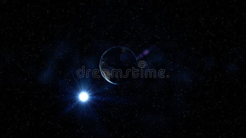 行星地球转动,转动在它的在星黑和蓝色宇宙的轴  非洲和欧洲市日夜点燃变动 免版税图库摄影