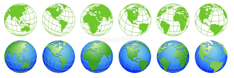 行星地球,世界地球地图,套生态象 库存例证