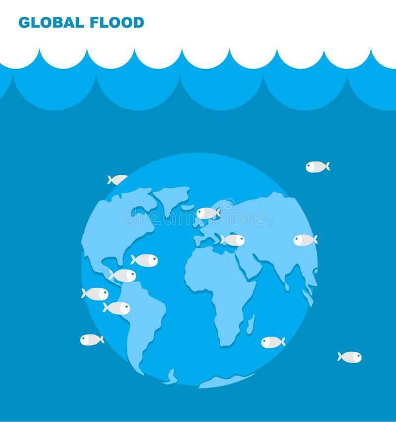 行星地球洪水  世界在水中 在水下的土地 库存例证