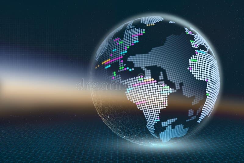 行星地球3D例证 与光亮元素的透明象素分布图在黑暗的抽象背景 全球性d技术  皇族释放例证