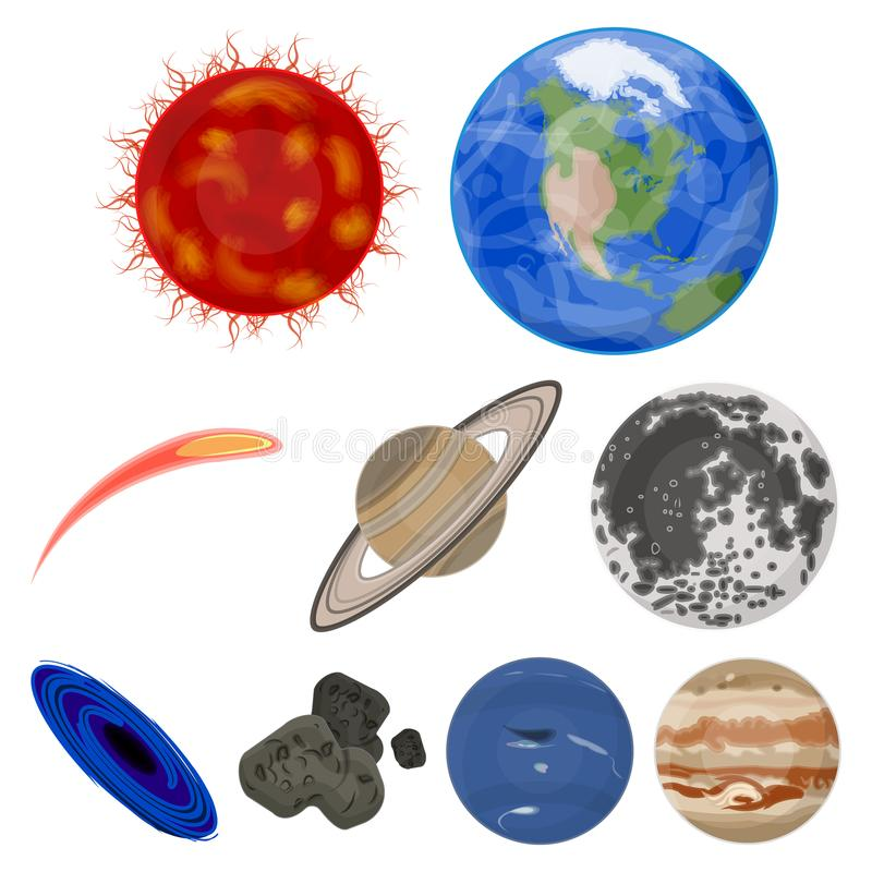 行星太阳系 宇宙对象 在集合汇集的行星象在动画片样式传染媒介标志股票 皇族释放例证