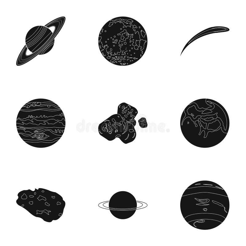 行星太阳系 宇宙对象 在集合汇集的行星象在黑样式传染媒介标志股票 向量例证