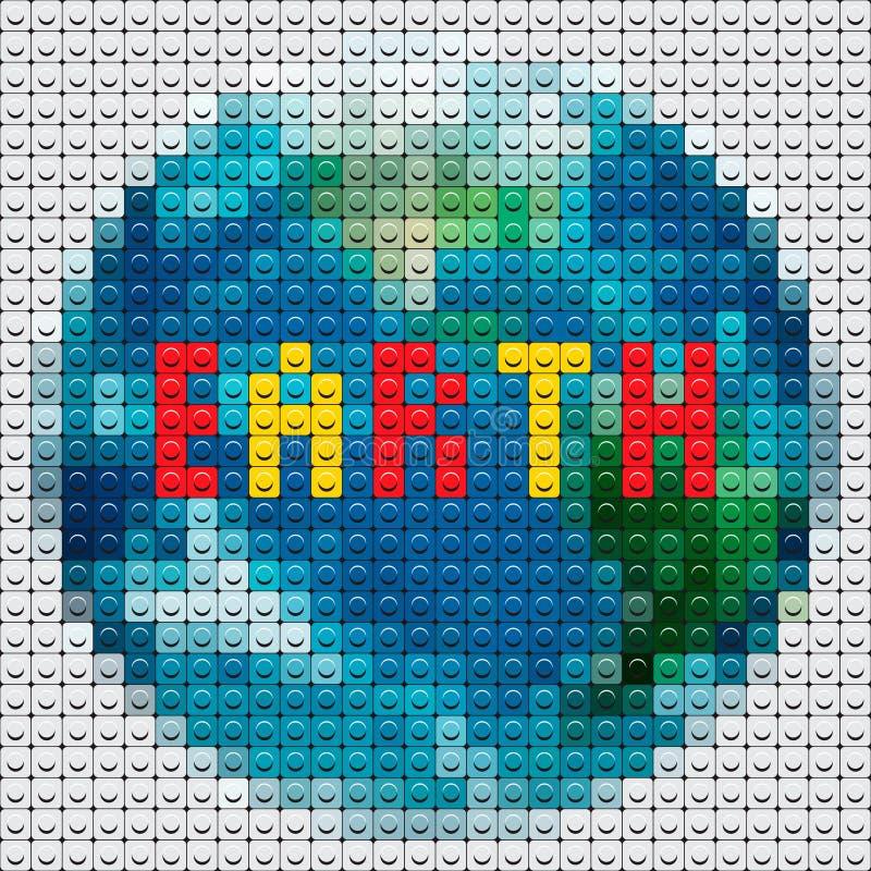 行星由马赛克做的地球分级显示 库存例证