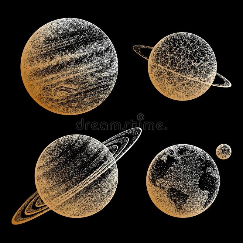 行星的汇集在太阳系的 板刻样式 葡萄酒典雅的科学集合 神圣的几何,魔术,神秘 向量例证