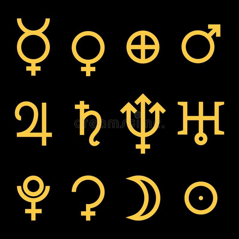 行星的黄道带和占星术标志 库存例证