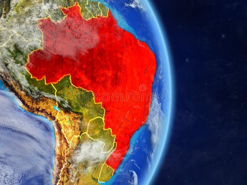 行星行星地球上的巴西与国家边界 极端详细的行星表面和云彩 3d例证 元素  向量例证