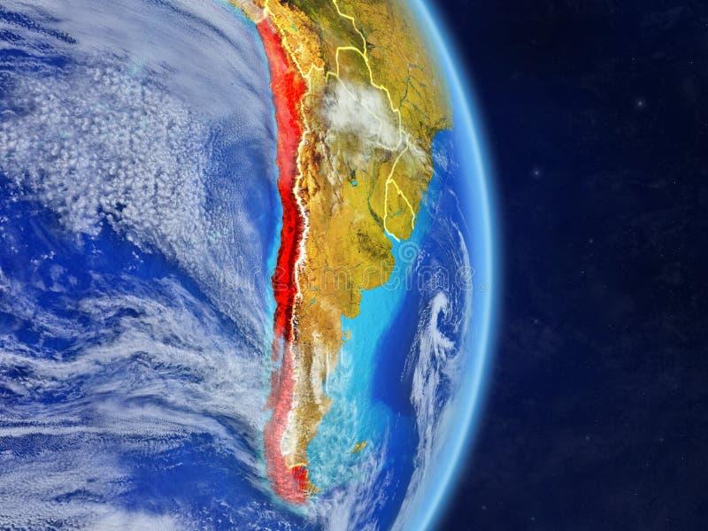 行星行星地球上的智利与国家边界 极端详细的行星表面和云彩 3d例证 此的要素 向量例证