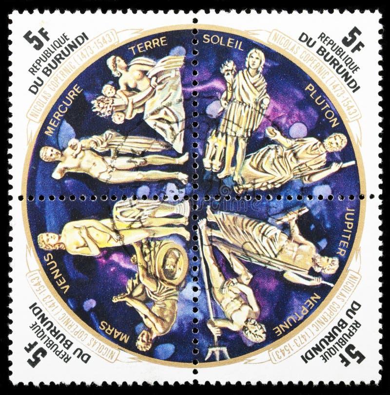 行星邮票 免版税库存照片