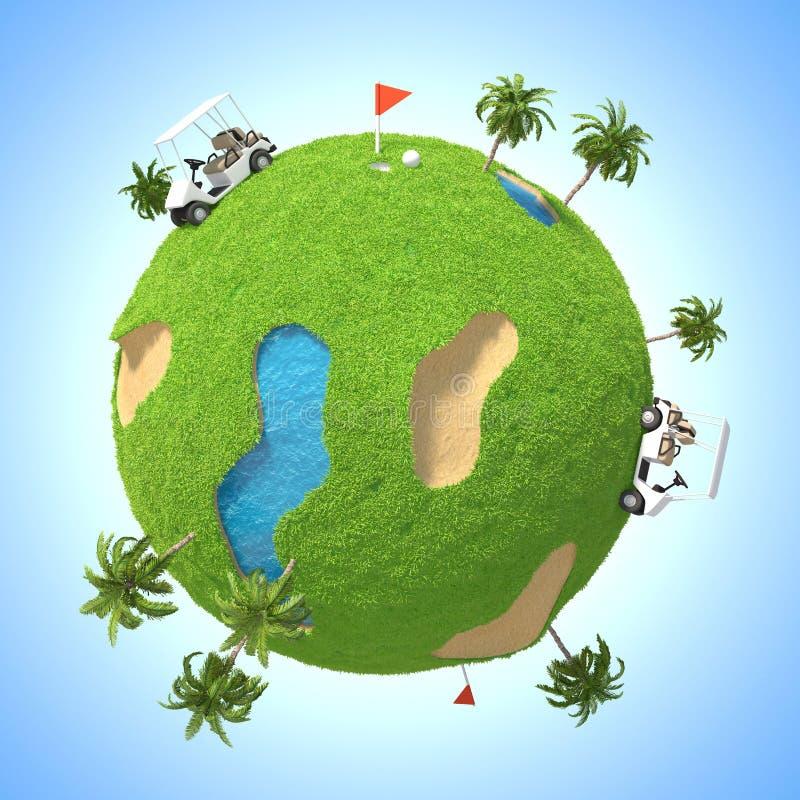 行星高尔夫球3D 免版税图库摄影