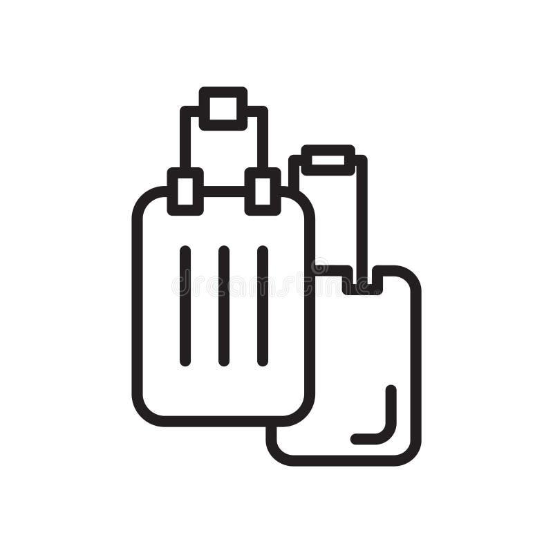 行李在白色背景、行李标志、线性标志和冲程设计元素隔绝的象传染媒介在概述样式 向量例证