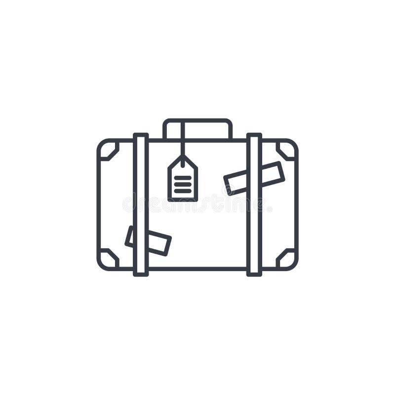 行李,手提箱,旅行袋子whith贴纸变薄线象 线性传染媒介标志 向量例证