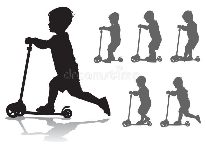滑行车的男孩 库存例证