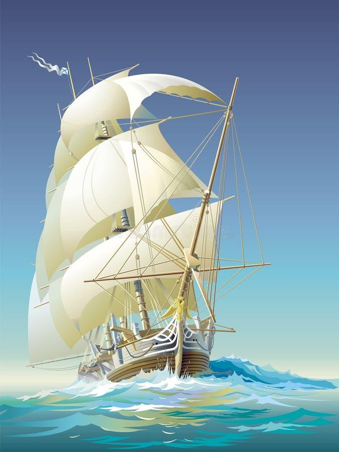 行驶远洋的船 皇族释放例证