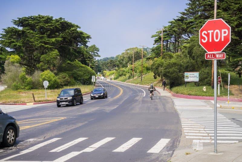 街口在Presidio地区,旧金山,加利福尼亚 库存照片