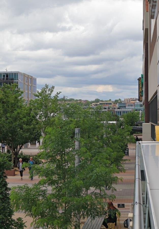 街市丹佛街道视图在联合驻地附近的 库存照片