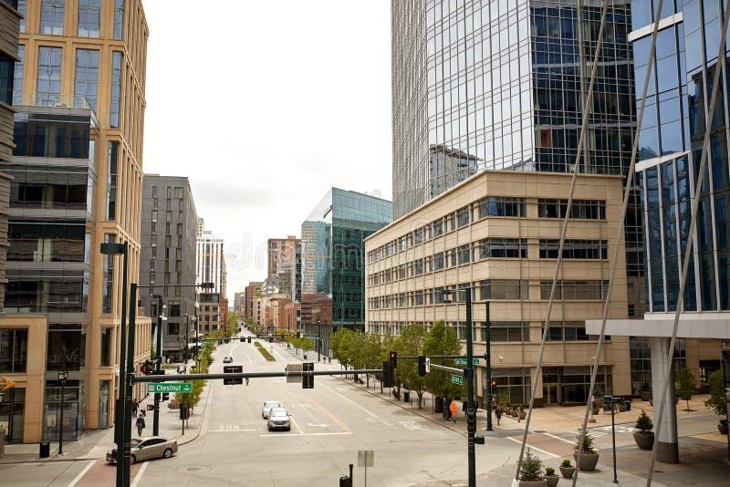 街市丹佛,科罗拉多都市风景  图库摄影