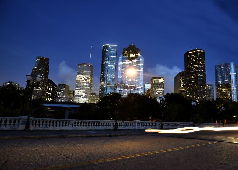 街市休斯敦地平线在晚上 图库摄影