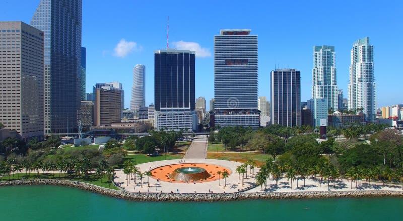 街市佛罗里达迈阿密 惊人的鸟瞰图 免版税库存照片