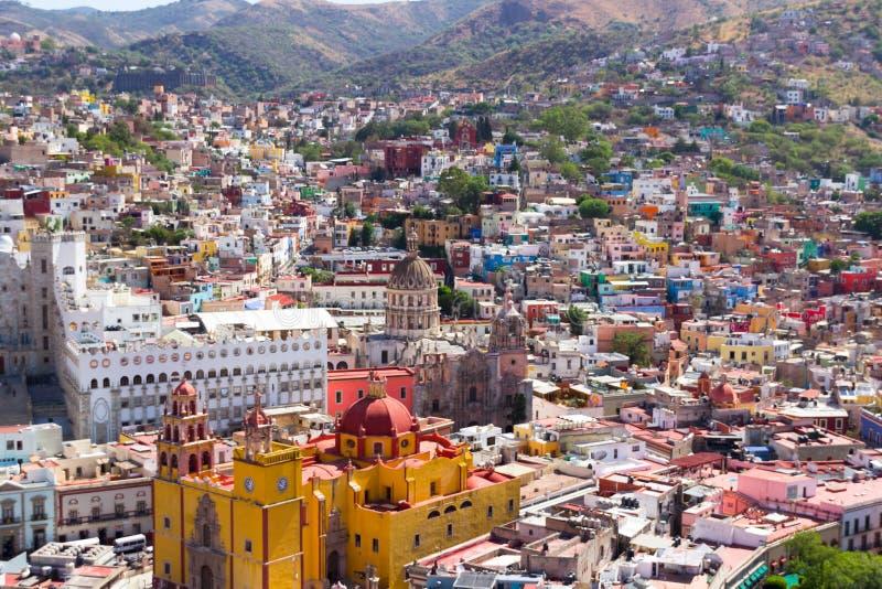 街市利昂瓜纳华托州墨西哥城Aereal视图  免版税库存照片