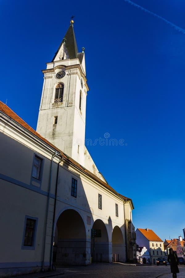 街市在Trebon,捷克 免版税库存图片