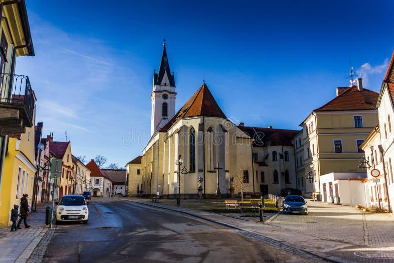 街市在Trebon,捷克 图库摄影