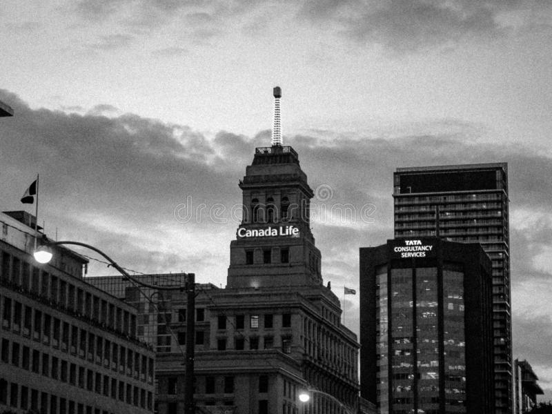街市多伦多黑白照片  库存照片