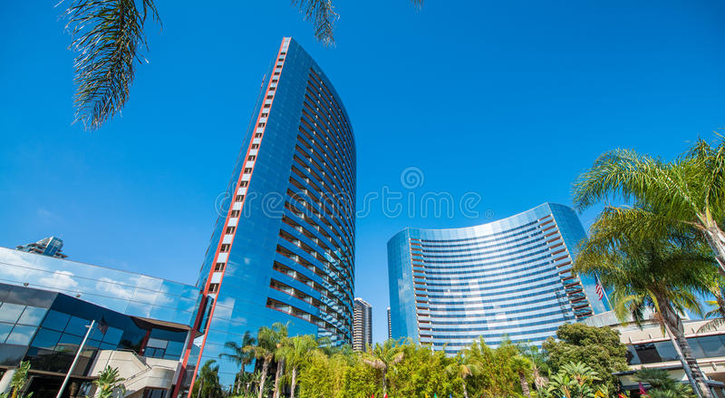 街市大厦看法在一个美好的晴天,圣地亚哥 库存图片