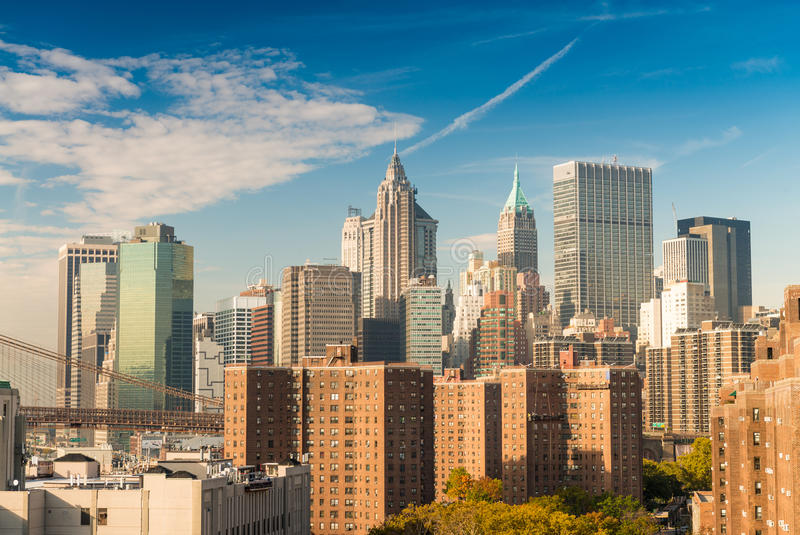 街市曼哈顿 美好的纽约地平线 库存图片