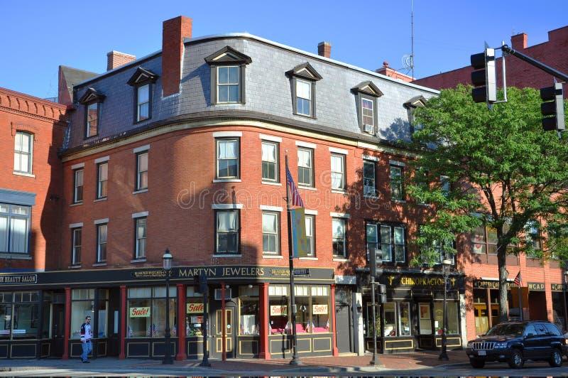 街市有历史的洛厄尔马萨诸塞 免版税库存图片