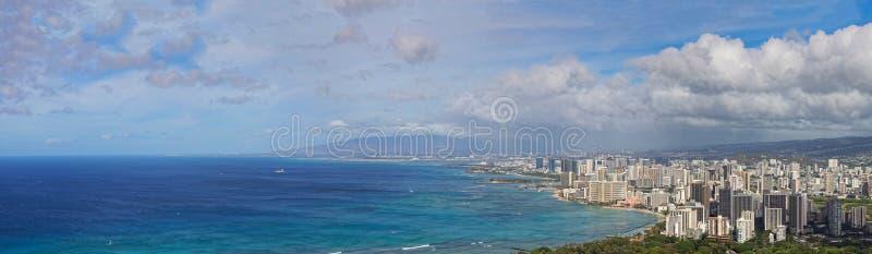 街市檀香山和威基基,奥阿胡岛,夏威夷Panoramamic视图  免版税库存照片