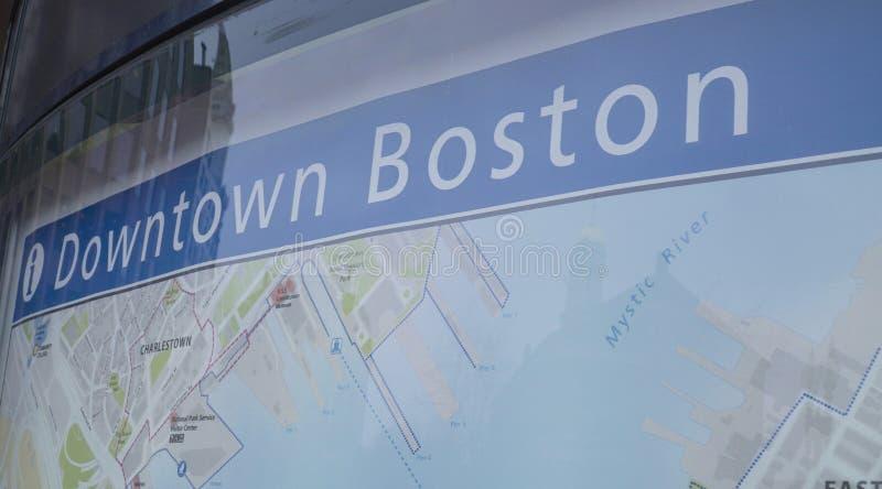 街市波士顿市地图-波士顿,马萨诸塞- 2017年4月3日 图库摄影