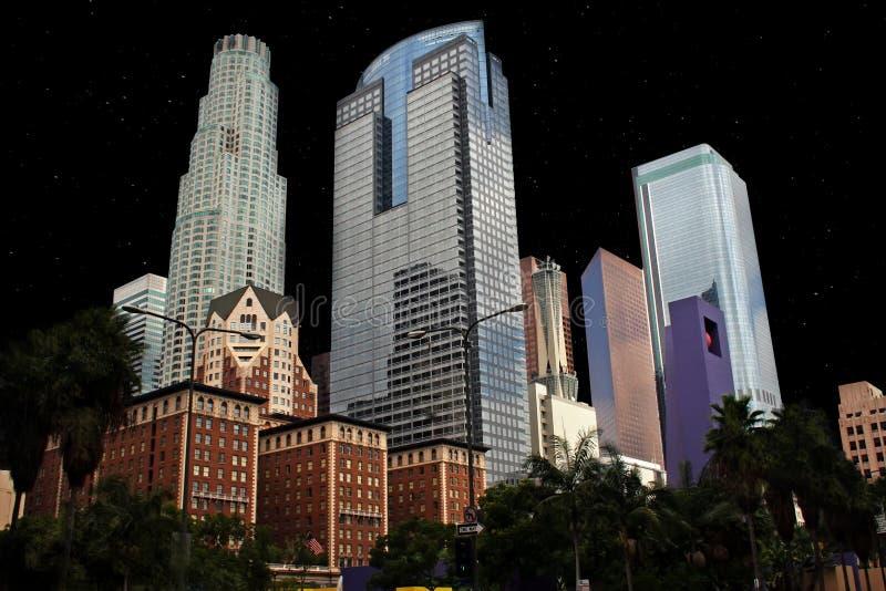 街市洛杉矶大厦夜 图库摄影