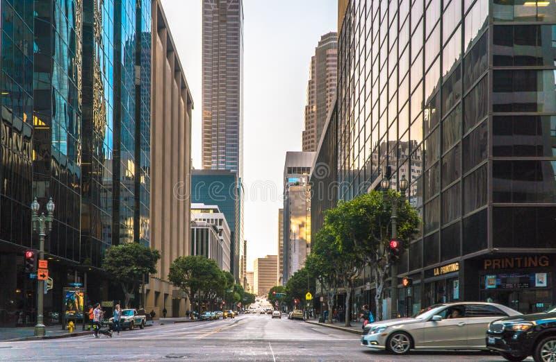 街市洛杉矶是中心商务区 免版税库存照片