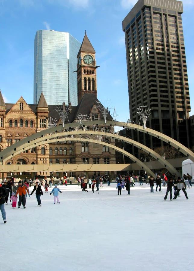街市滑冰的多伦多 图库摄影