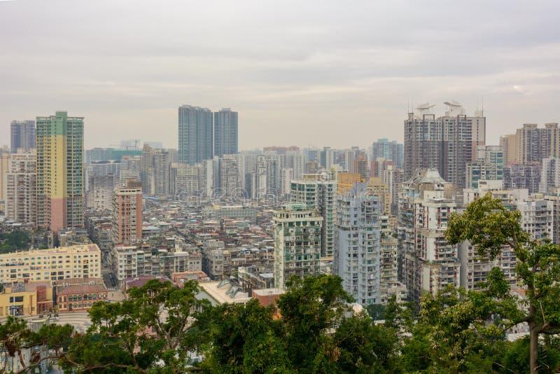 街市澳门,中国鸟瞰图  免版税库存照片