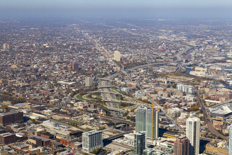 街市的芝加哥(鸟瞰图) 库存图片