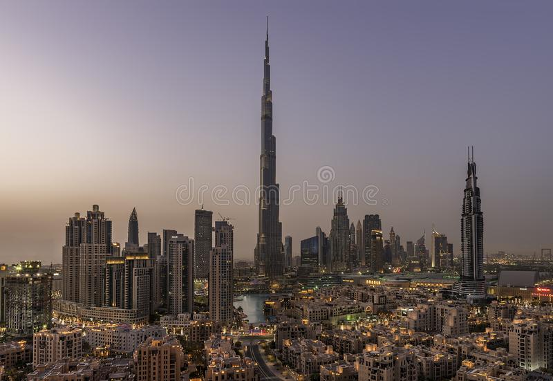街市的迪拜,迪拜,阿联酋, 2018年1月 库存图片
