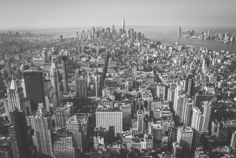 街市空中曼哈顿视图,纽约 免版税库存图片