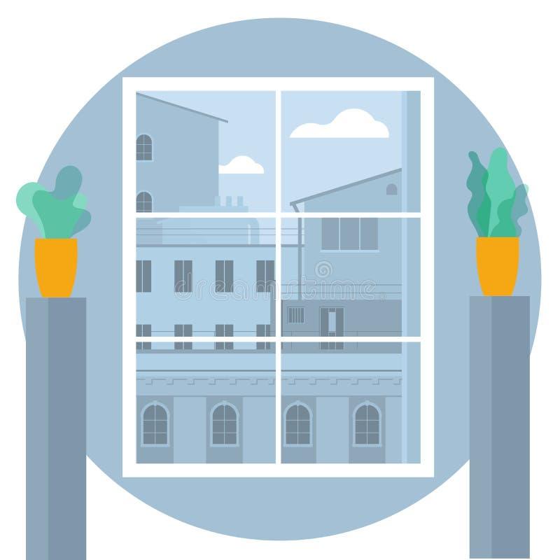 街市窗口视图 皇族释放例证
