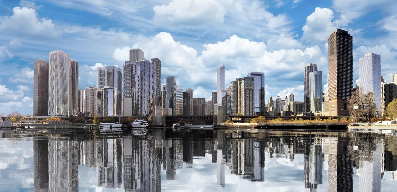 街市芝加哥反射 库存照片